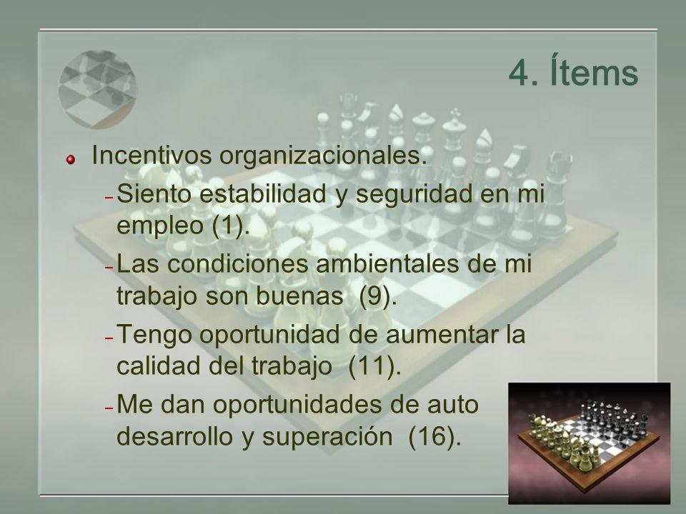 4.Ítems Incentivos organizacionales. – Siento estabilidad y seguridad en mi empleo (1).