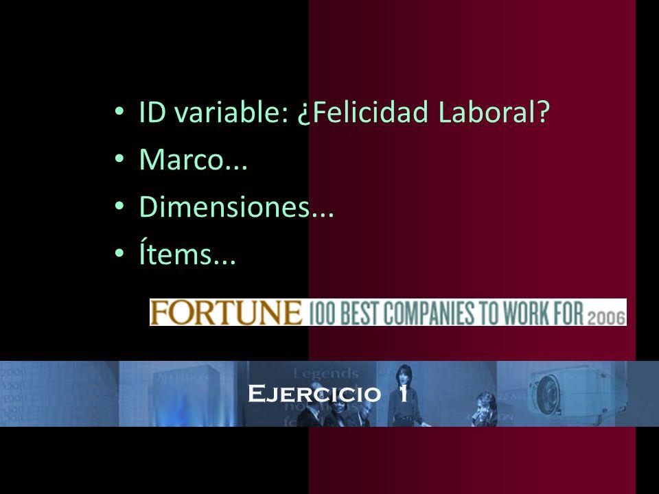 Ejercicio 1 ID variable: ¿Felicidad Laboral? Marco... Dimensiones... Ítems...