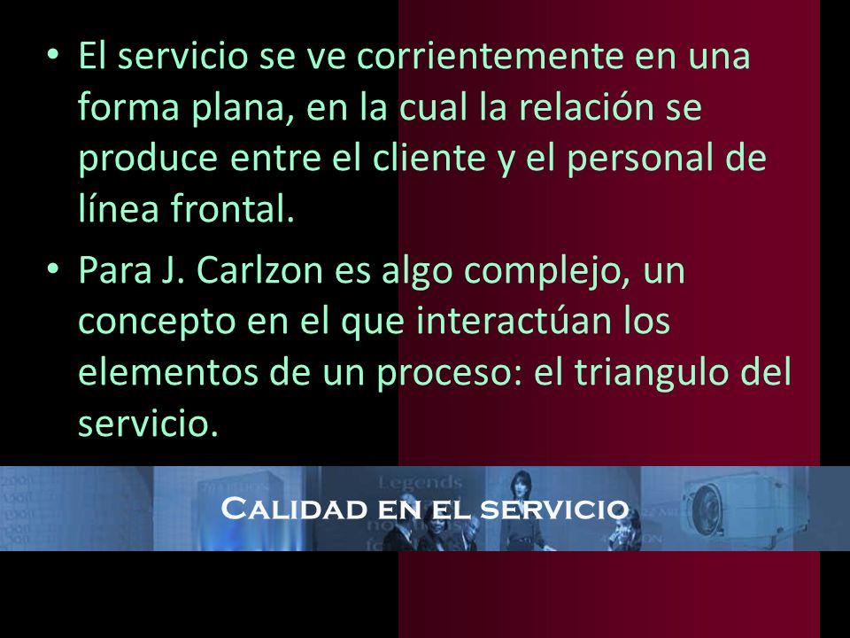 Calidad en el servicio El servicio se ve corrientemente en una forma plana, en la cual la relación se produce entre el cliente y el personal de línea