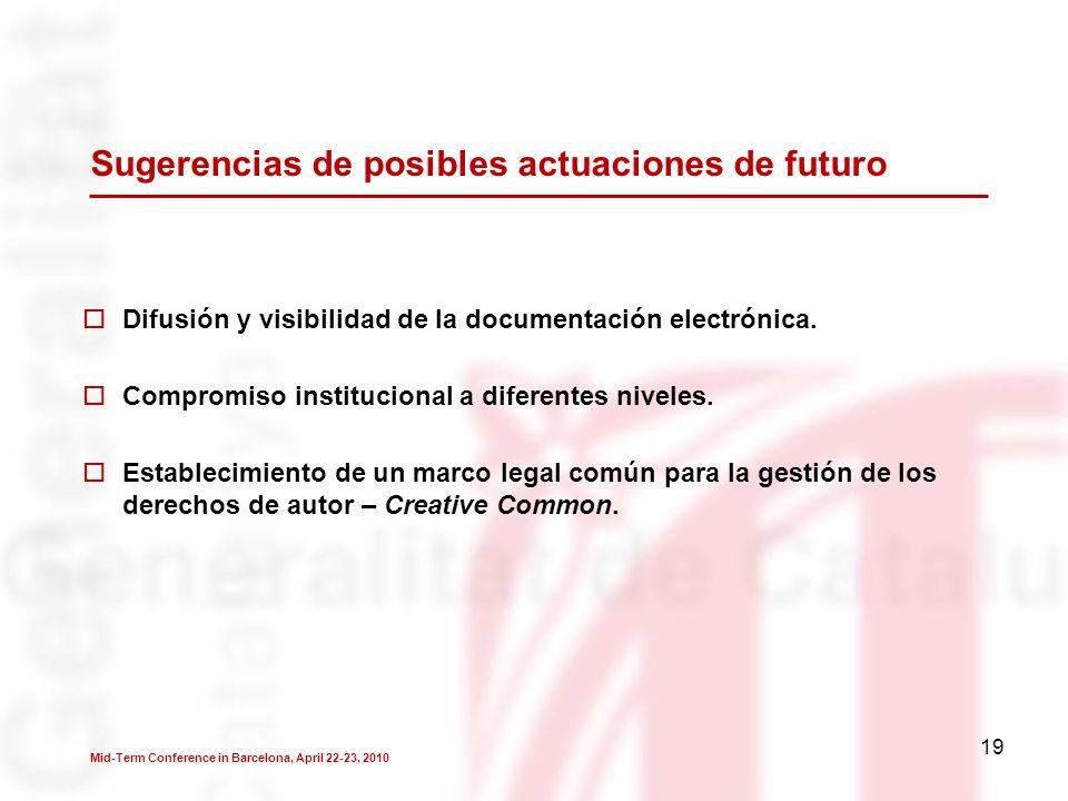 19 Sugerencias de posibles actuaciones de futuro Difusión y visibilidad de la documentación electrónica.