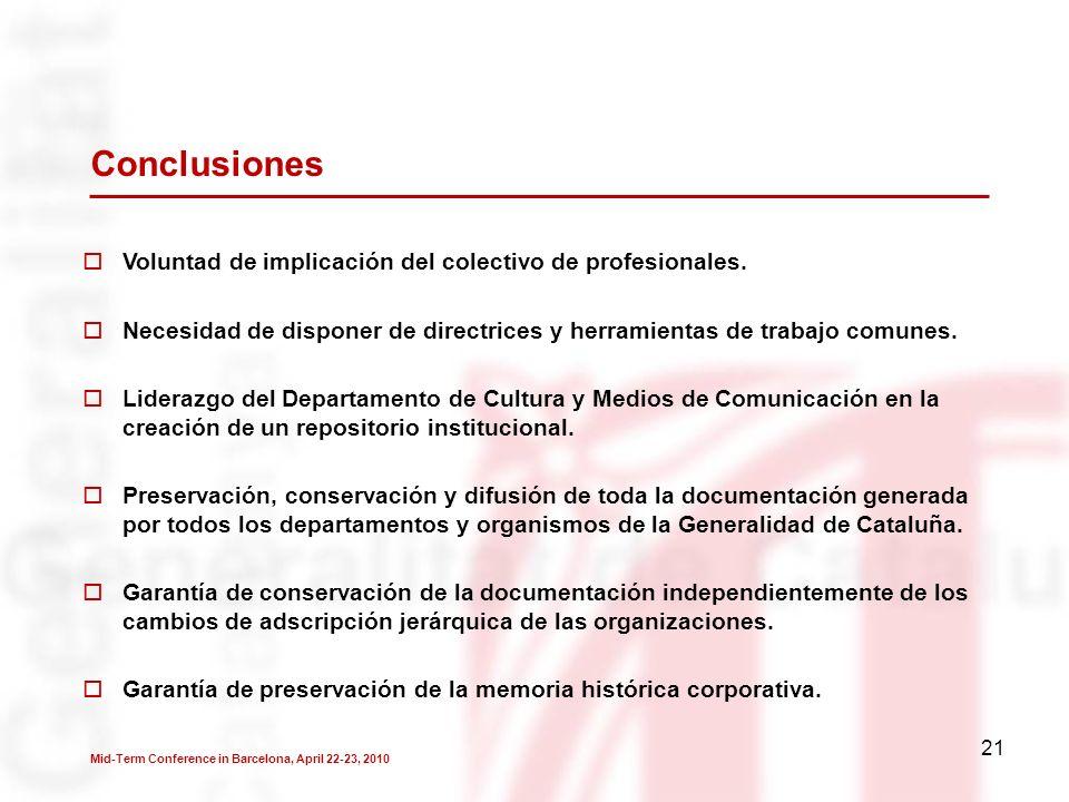 21 Conclusiones Voluntad de implicación del colectivo de profesionales.