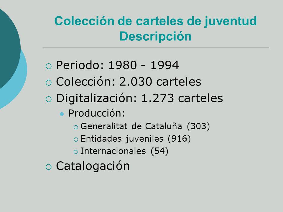 Colección de carteles de juventud Descripción Periodo: 1980 - 1994 Colección: 2.030 carteles Digitalización: 1.273 carteles Producción: Generalitat de Cataluña (303) Entidades juveniles (916) Internacionales (54) Catalogación