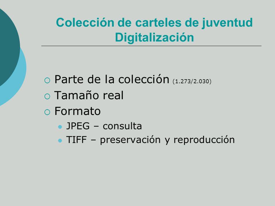 Colección de carteles de juventud Digitalización Parte de la colección (1.273/2.030) Tamaño real Formato JPEG – consulta TIFF – preservación y reproducción