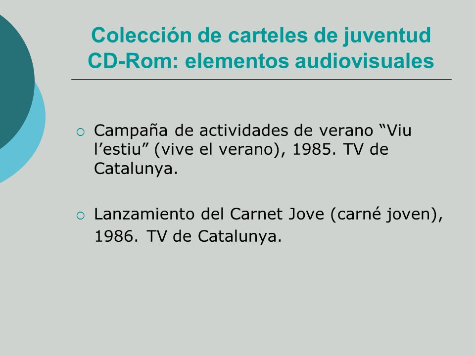 Colección de carteles de juventud CD-Rom: elementos audiovisuales Campaña de actividades de verano Viu lestiu (vive el verano), 1985.