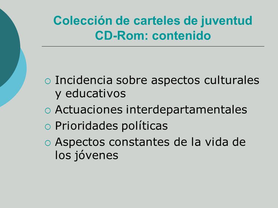 Colección de carteles de juventud CD-Rom: contenido Incidencia sobre aspectos culturales y educativos Actuaciones interdepartamentales Prioridades políticas Aspectos constantes de la vida de los jóvenes
