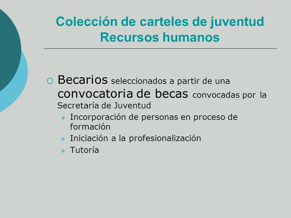 Colección de carteles de juventud Recursos humanos Becarios seleccionados a partir de una convocatoria de becas convocadas por la Secretaría de Juventud Incorporación de personas en proceso de formación Iniciación a la profesionalización Tutoría