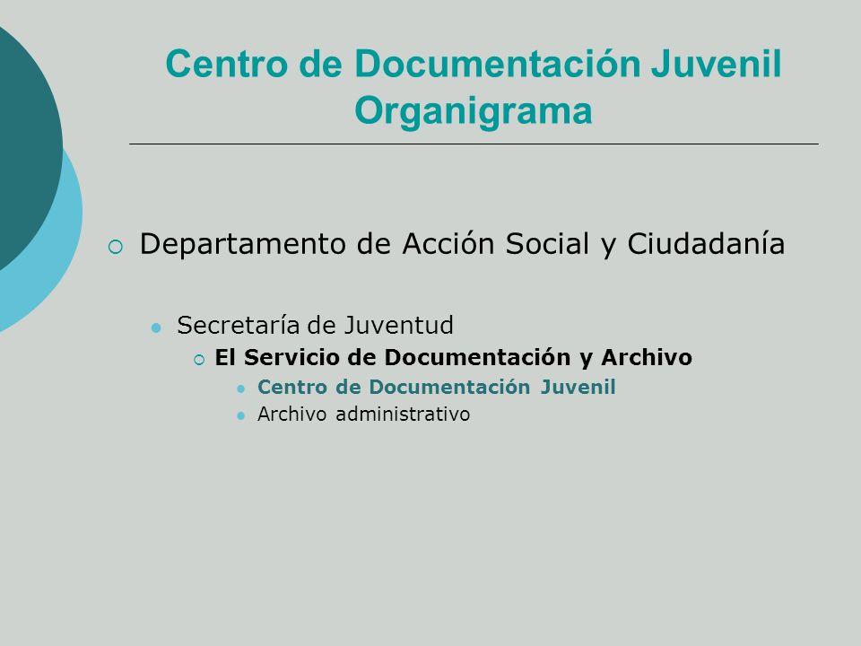 Centro de Documentación Juvenil Organigrama Departamento de Acción Social y Ciudadanía Secretaría de Juventud El Servicio de Documentación y Archivo Centro de Documentación Juvenil Archivo administrativo