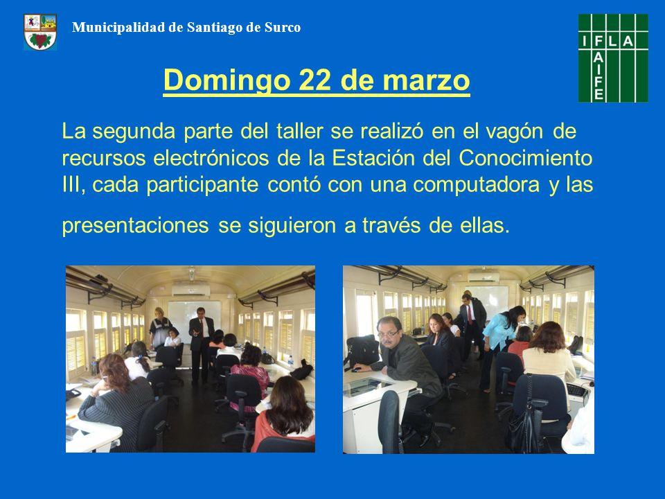 La segunda parte del taller se realizó en el vagón de recursos electrónicos de la Estación del Conocimiento III, cada participante contó con una computadora y las presentaciones se siguieron a través de ellas.