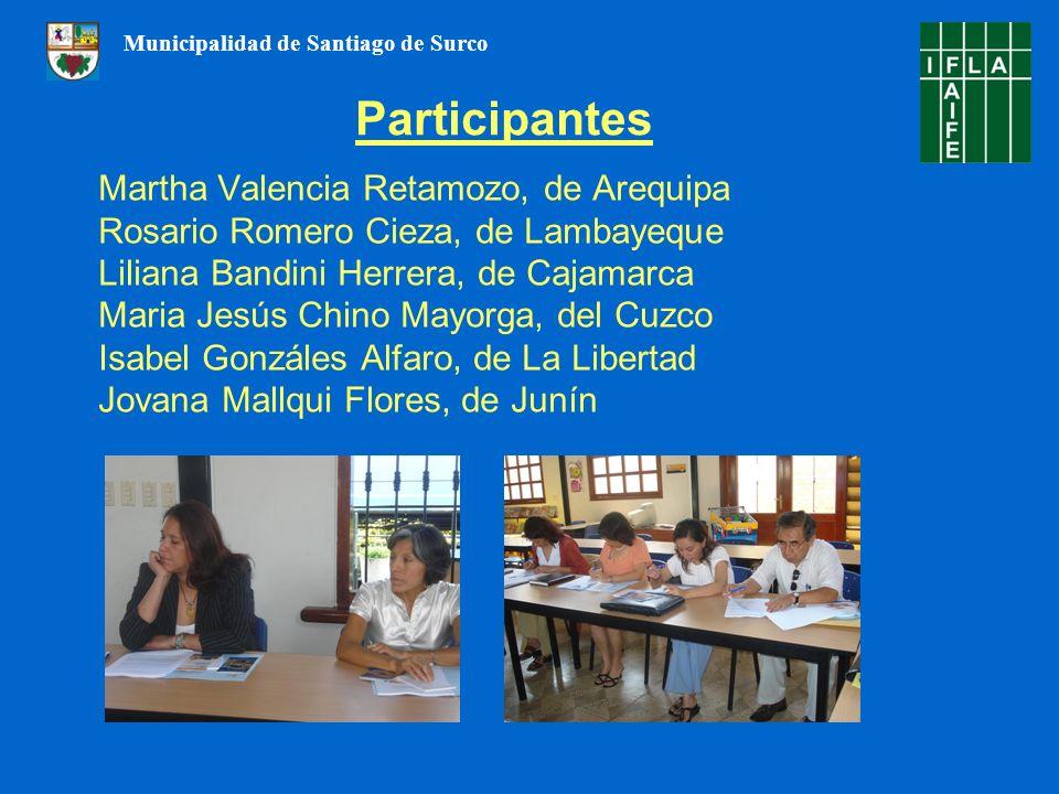 Martha Valencia Retamozo, de Arequipa Rosario Romero Cieza, de Lambayeque Liliana Bandini Herrera, de Cajamarca Maria Jesús Chino Mayorga, del Cuzco I