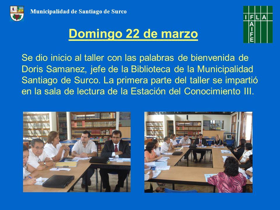 Se dio inicio al taller con las palabras de bienvenida de Doris Samanez, jefe de la Biblioteca de la Municipalidad Santiago de Surco. La primera parte