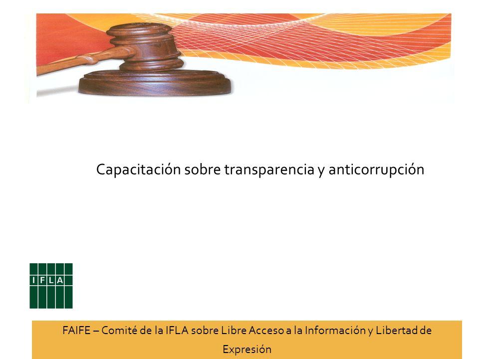 Capacitación sobre transparencia y anticorrupción FAIFE – Comité de la IFLA sobre Libre Acceso a la Información y Libertad de Expresión