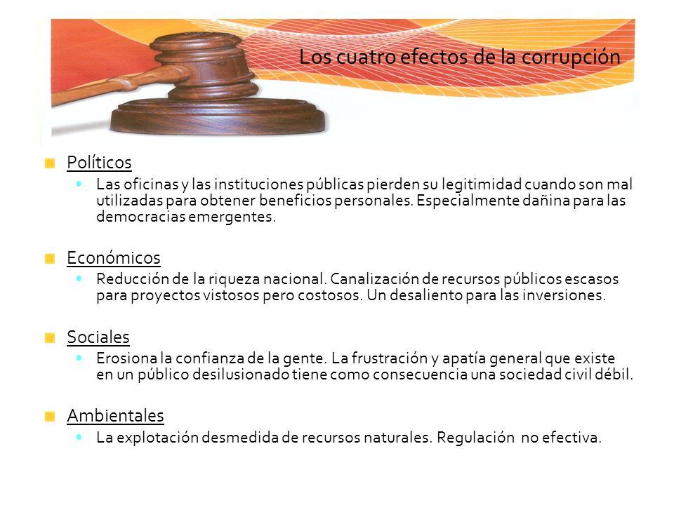 Los cuatro efectos de la corrupción Políticos Las oficinas y las instituciones públicas pierden su legitimidad cuando son mal utilizadas para obtener