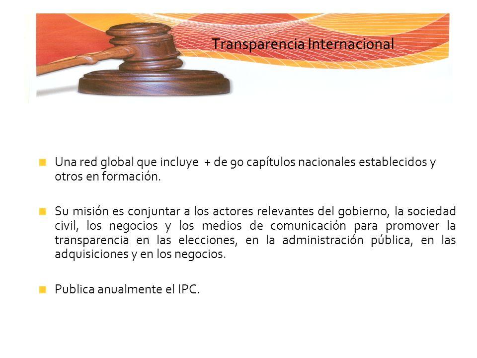 Transparencia Internacional Una red global que incluye + de 90 capítulos nacionales establecidos y otros en formación. Su misión es conjuntar a los ac