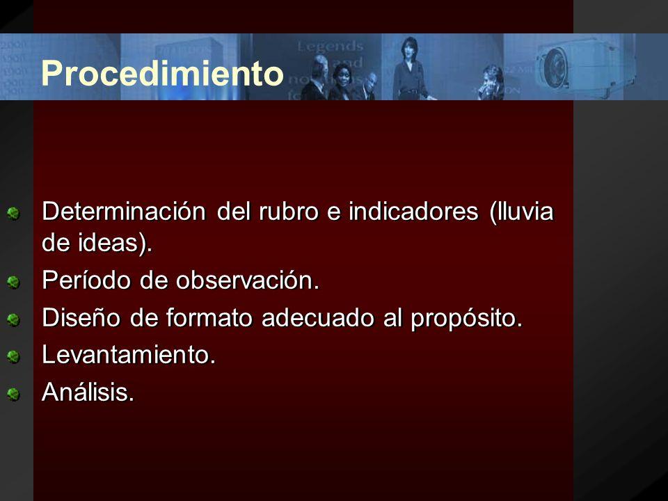 Procedimiento Determinación del rubro e indicadores (lluvia de ideas).