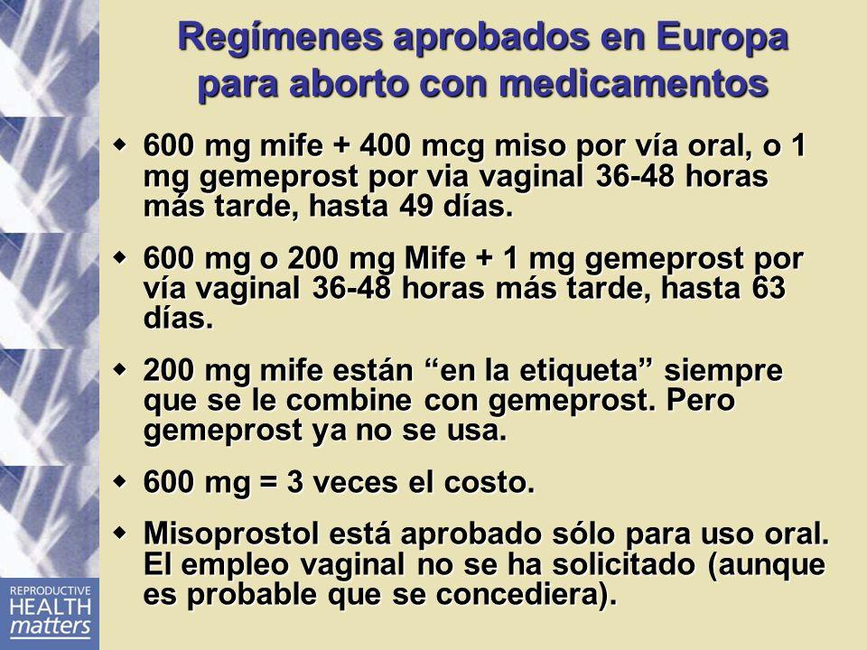 Regímenes aprobados en Europa para aborto con medicamentos 600 mg mife + 400 mcg miso por vía oral, o 1 mg gemeprost por via vaginal 36-48 horas más t