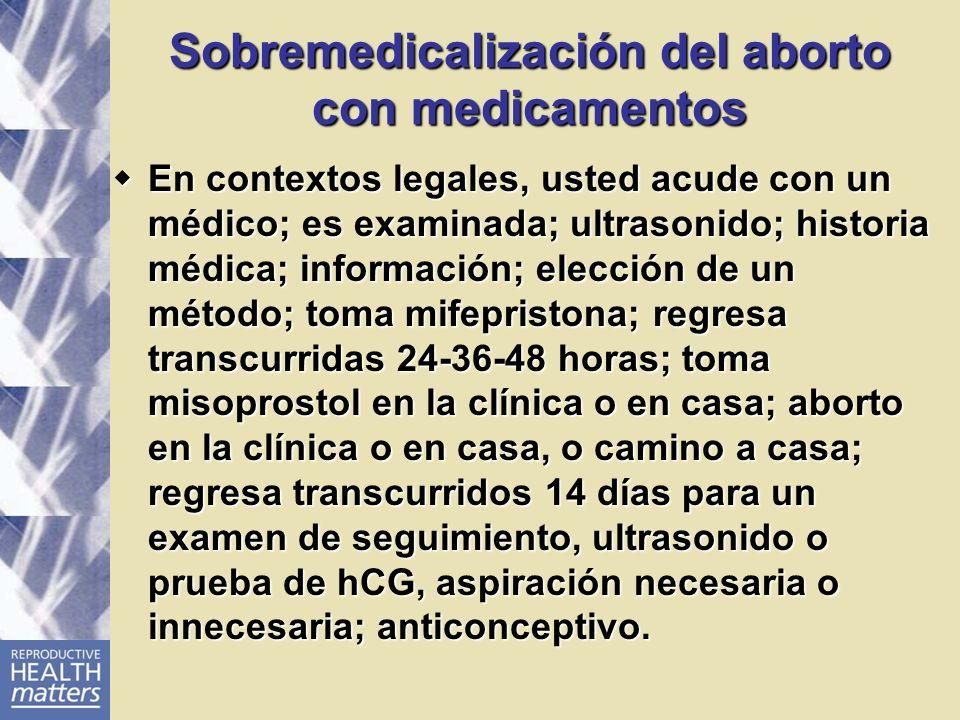 Sobremedicalización del aborto con medicamentos En contextos legales, usted acude con un médico; es examinada; ultrasonido; historia médica; informaci