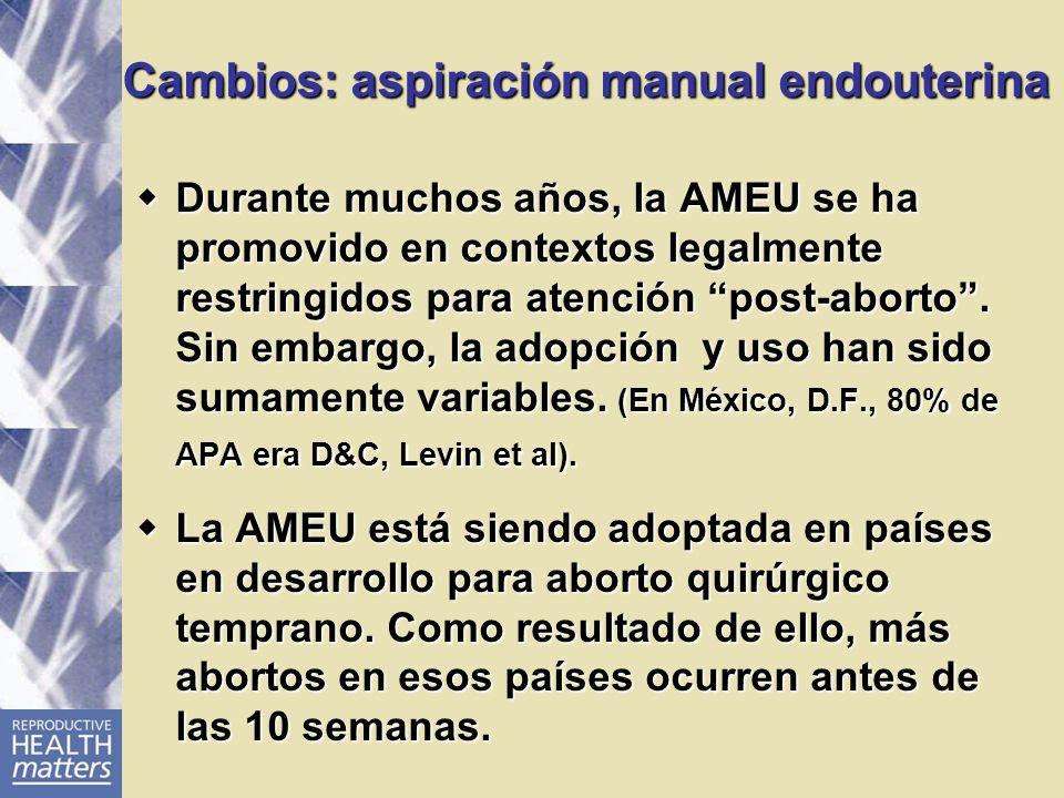 Cambios: aspiración manual endouterina Durante muchos años, la AMEU se ha promovido en contextos legalmente restringidos para atención post-aborto. Si