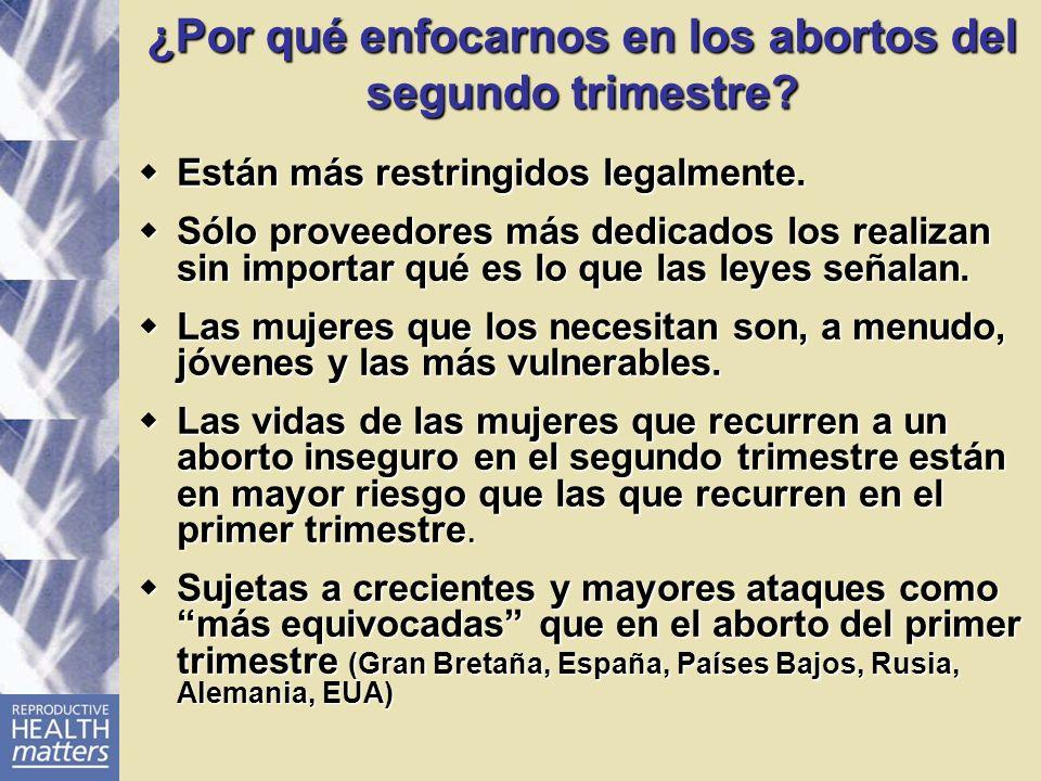 ¿Por qué enfocarnos en los abortos del segundo trimestre? Están más restringidos legalmente. Están más restringidos legalmente. Sólo proveedores más d