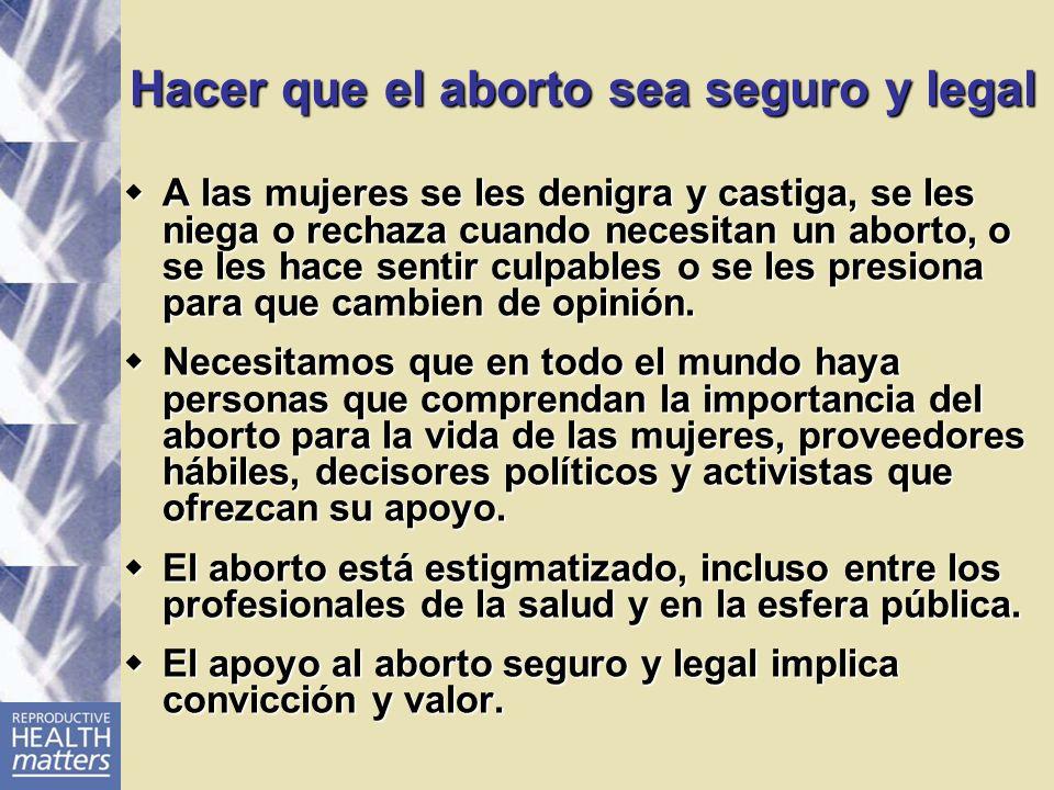 Hacer que el aborto sea seguro y legal A las mujeres se les denigra y castiga, se les niega o rechaza cuando necesitan un aborto, o se les hace sentir