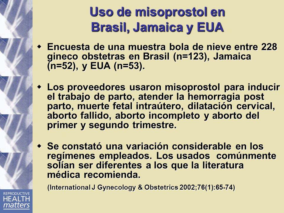 Uso de misoprostol en Brasil, Jamaica y EUA Encuesta de una muestra bola de nieve entre 228 gineco obstetras en Brasil (n=123), Jamaica (n=52), y EUA