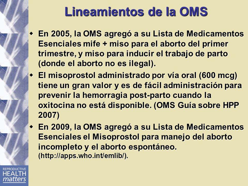 Lineamientos de la OMS En 2005, la OMS agregó a su Lista de Medicamentos Esenciales mife + miso para el aborto del primer trimestre, y miso para induc