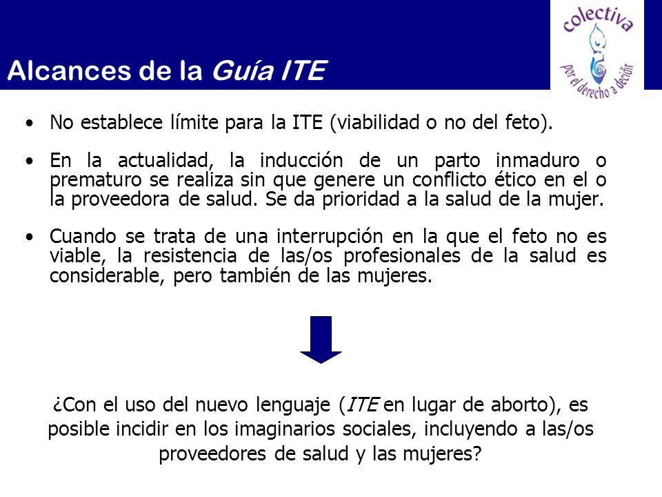 No establece límite para la ITE (viabilidad o no del feto). En la actualidad, la inducción de un parto inmaduro o prematuro se realiza sin que genere
