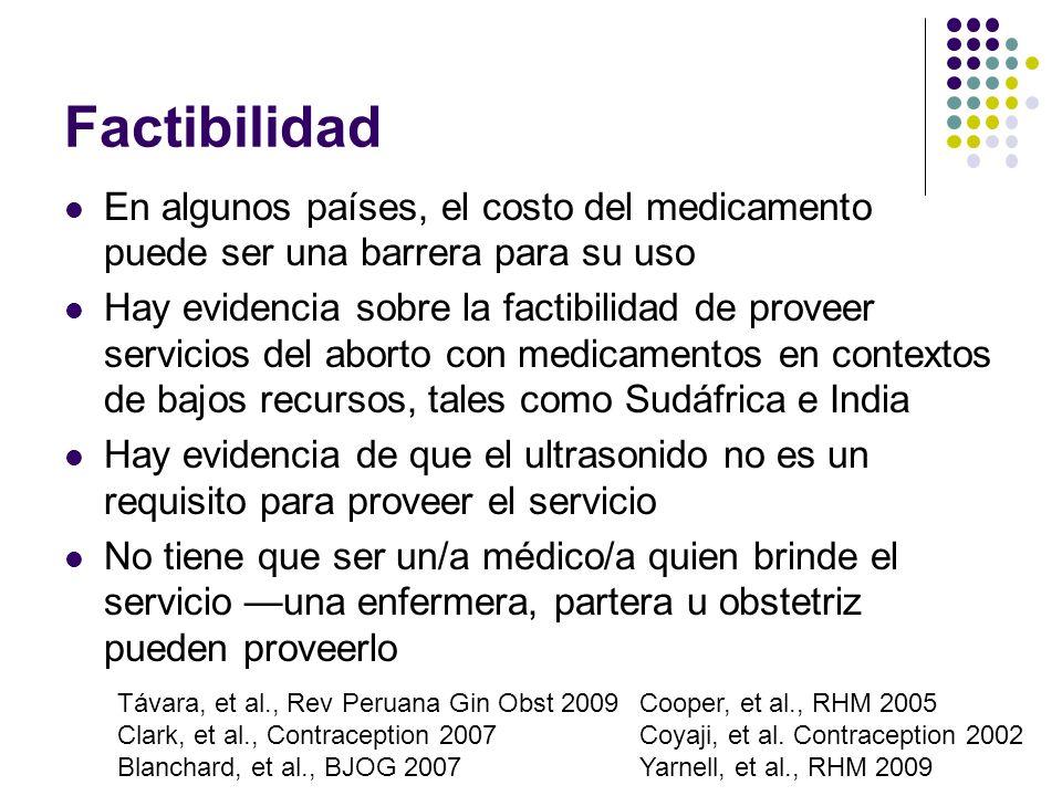 Factibilidad En algunos países, el costo del medicamento puede ser una barrera para su uso Hay evidencia sobre la factibilidad de proveer servicios de