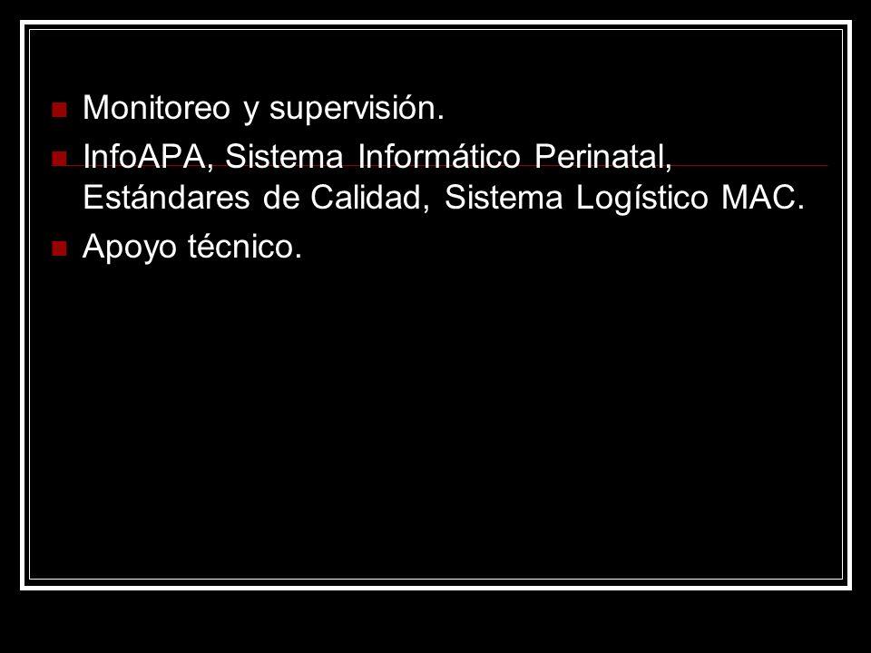 Monitoreo y supervisión. InfoAPA, Sistema Informático Perinatal, Estándares de Calidad, Sistema Logístico MAC. Apoyo técnico.