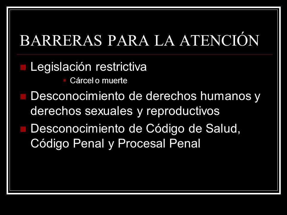 BARRERAS PARA LA ATENCIÓN Legislación restrictiva Cárcel o muerte Desconocimiento de derechos humanos y derechos sexuales y reproductivos Desconocimie