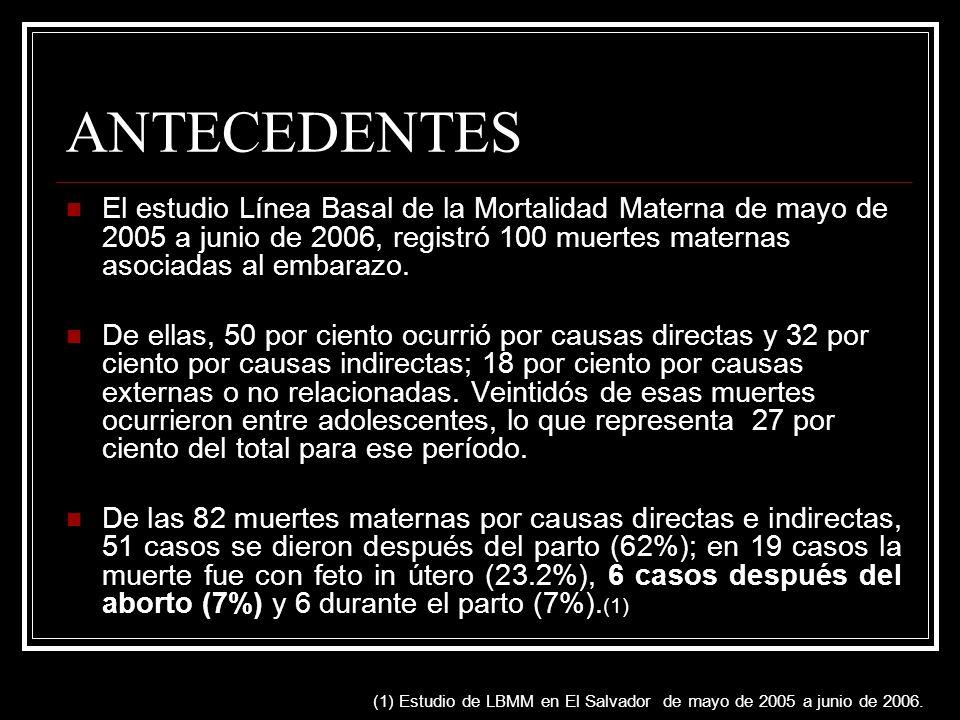 ANTECEDENTES El estudio Línea Basal de la Mortalidad Materna de mayo de 2005 a junio de 2006, registró 100 muertes maternas asociadas al embarazo. De