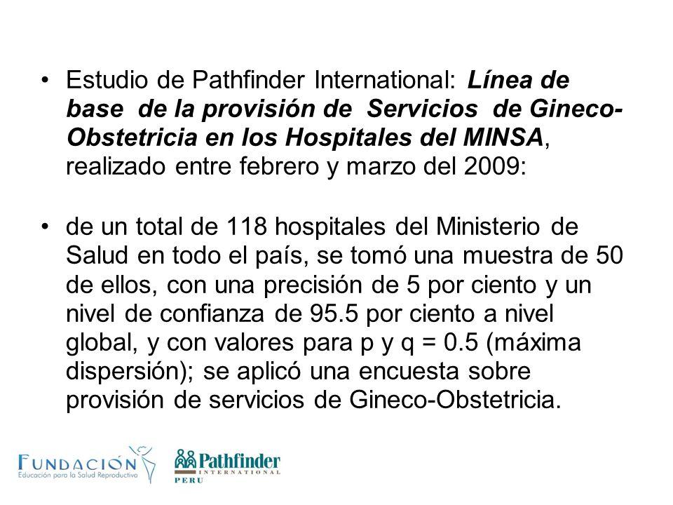 Estudio de Pathfinder International: Línea de base de la provisión de Servicios de Gineco- Obstetricia en los Hospitales del MINSA, realizado entre fe