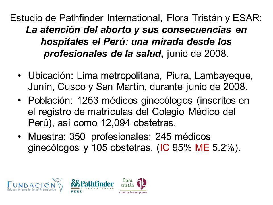 Estudio de Pathfinder International, Flora Tristán y ESAR: La atención del aborto y sus consecuencias en hospitales el Perú: una mirada desde los prof