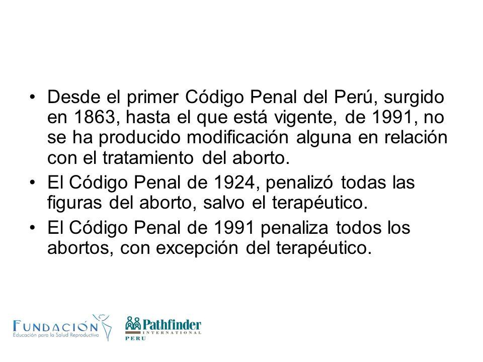 Desde el primer Código Penal del Perú, surgido en 1863, hasta el que está vigente, de 1991, no se ha producido modificación alguna en relación con el