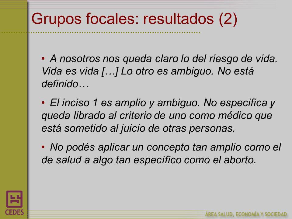 Grupos focales: resultados (2) A nosotros nos queda claro lo del riesgo de vida.