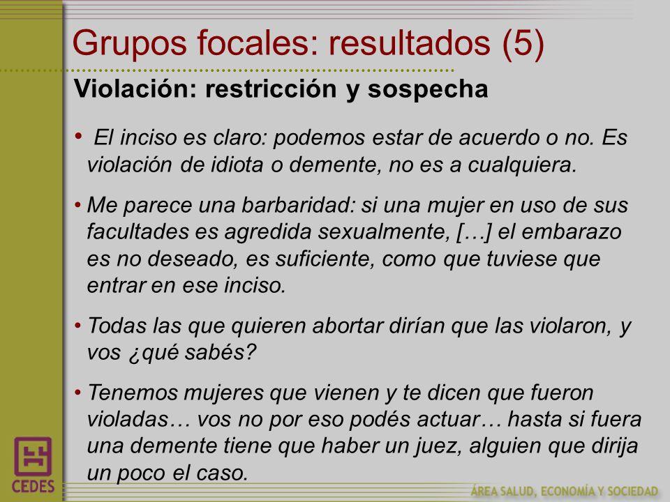 Grupos focales: resultados (5) Violación: restricción y sospecha El inciso es claro: podemos estar de acuerdo o no.