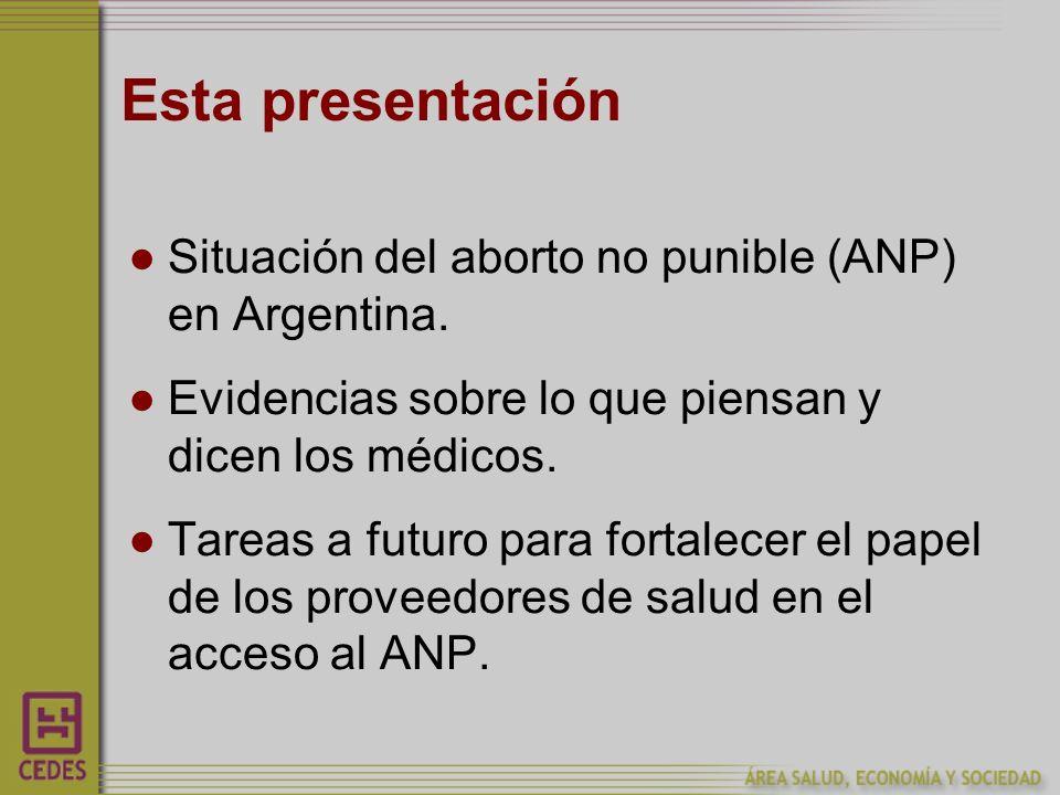 Esta presentación Situación del aborto no punible (ANP) en Argentina.