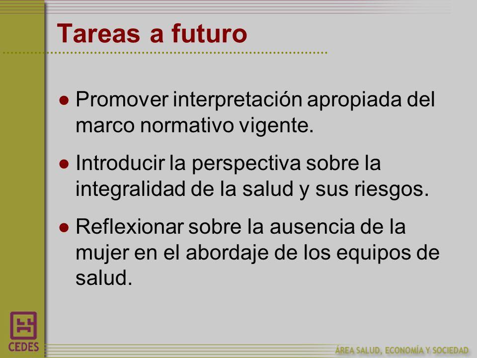 Tareas a futuro Promover interpretación apropiada del marco normativo vigente.