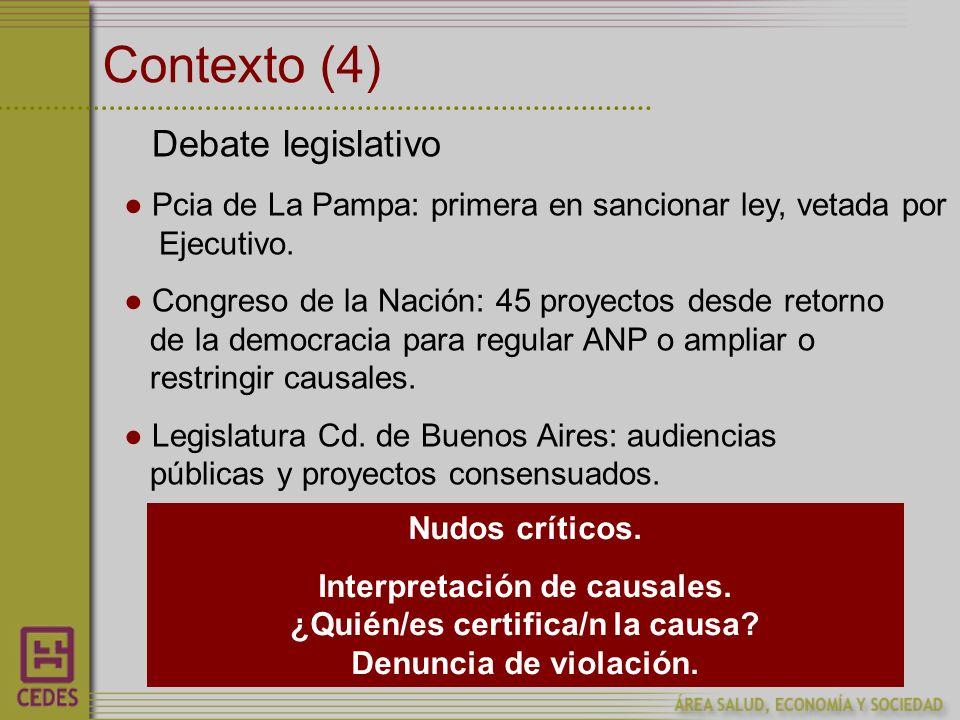 Contexto (4) Debate legislativo Pcia de La Pampa: primera en sancionar ley, vetada por Ejecutivo.