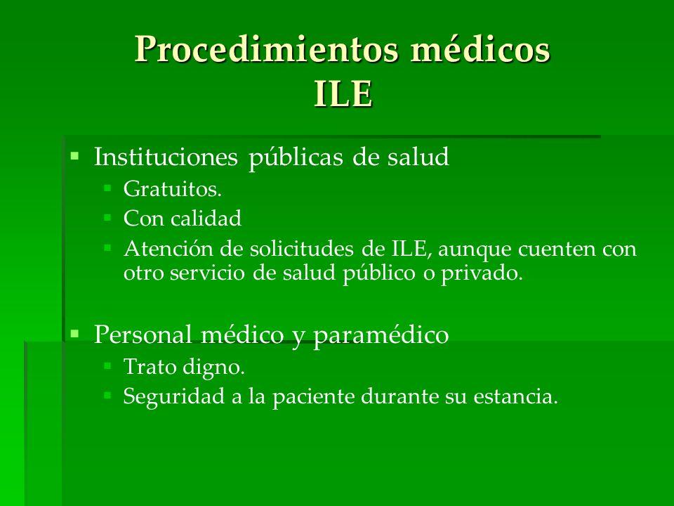 Procedimientos médicos ILE Instituciones públicas de salud Gratuitos. Con calidad Atención de solicitudes de ILE, aunque cuenten con otro servicio de