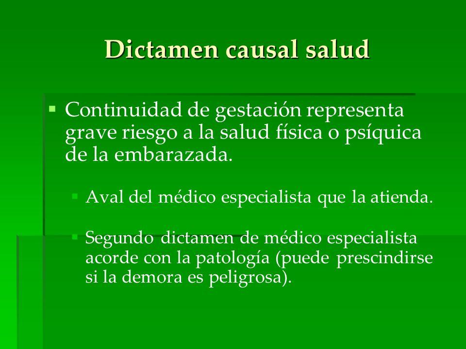 Dictamen causal salud Continuidad de gestación representa grave riesgo a la salud física o psíquica de la embarazada. Aval del médico especialista que