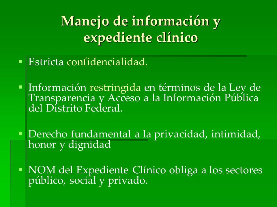 Manejo de información y expediente clínico Estricta confidencialidad. Información restringida en términos de la Ley de Transparencia y Acceso a la Inf