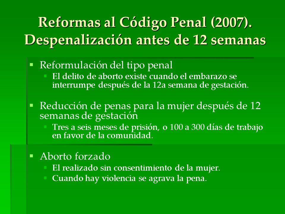 Reformas al Código Penal (2007). Despenalización antes de 12 semanas Reformulación del tipo penal El delito de aborto existe cuando el embarazo se int