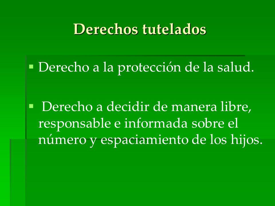 Derechos tutelados Derecho a la protección de la salud. Derecho a decidir de manera libre, responsable e informada sobre el número y espaciamiento de