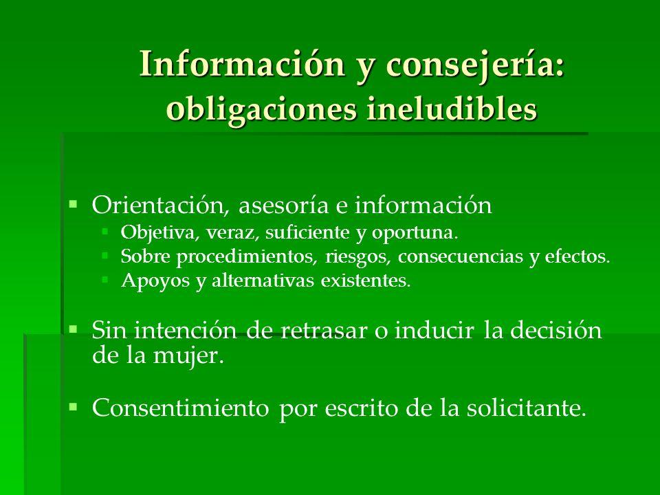 Orientación, asesoría e información Objetiva, veraz, suficiente y oportuna. Sobre procedimientos, riesgos, consecuencias y efectos. Apoyos y alternati