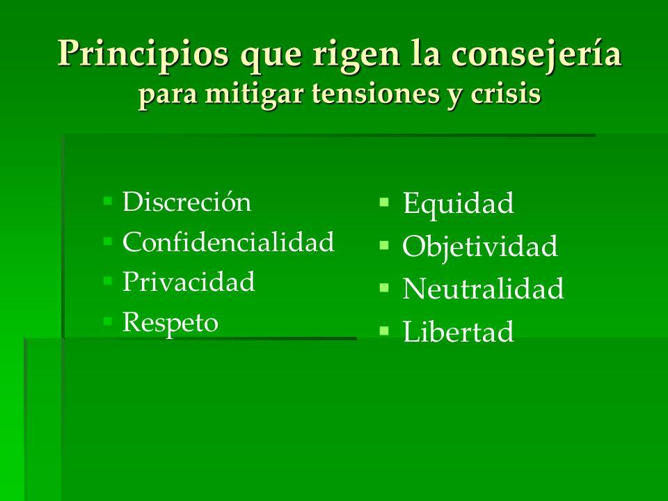 Principios que rigen la consejería para mitigar tensiones y crisis Discreción Confidencialidad Privacidad Respeto Equidad Objetividad Neutralidad Libe