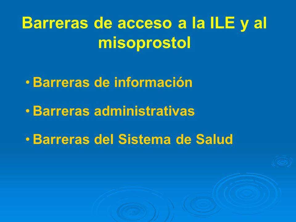 Barreras de información Barreras administrativas Barreras del Sistema de Salud Barreras de acceso a la ILE y al misoprostol