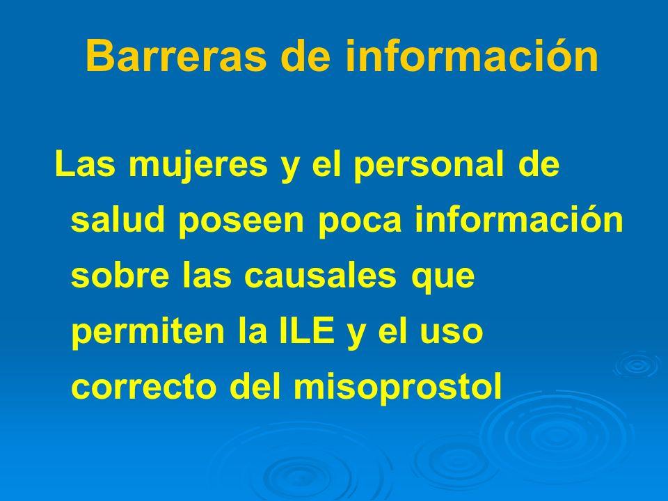 Las mujeres y el personal de salud poseen poca información sobre las causales que permiten la ILE y el uso correcto del misoprostol Barreras de inform