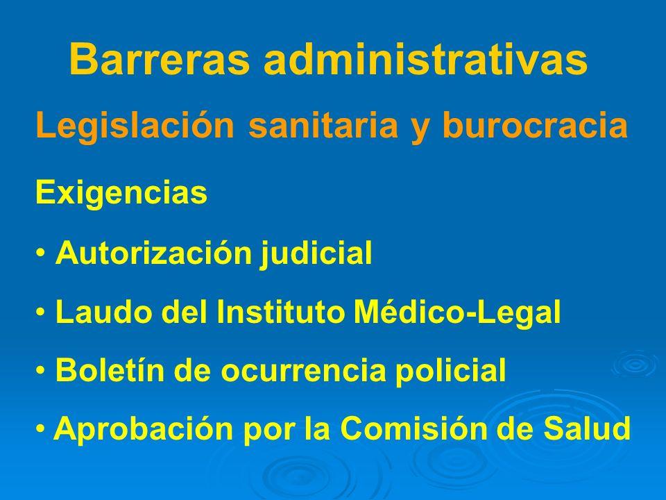 Legislación sanitaria y burocracia Exigencias Autorización judicial Laudo del Instituto Médico-Legal Boletín de ocurrencia policial Aprobación por la