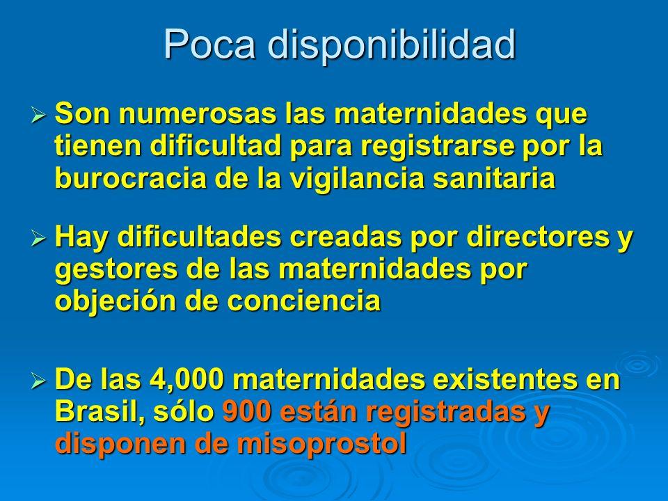 Poca disponibilidad Son numerosas las maternidades que tienen dificultad para registrarse por la burocracia de la vigilancia sanitaria Son numerosas l
