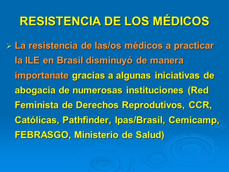 RESISTENCIA DE LOS MÉDICOS La resistencia de las/os médicos a practicar la ILE en Brasil disminuyó de manera importanate gracias a algunas iniciativas